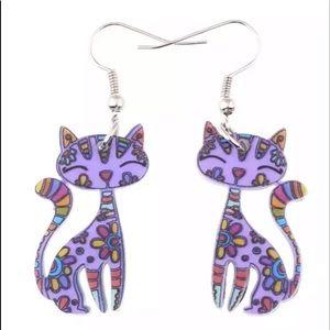 Purple Kitten Acrylic Ear Drop Earrings